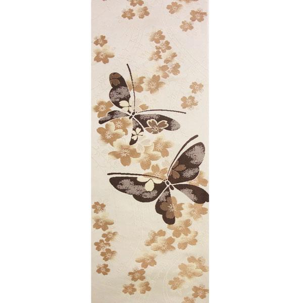 「小桜に蝶」 両面表西陣織半幅帯