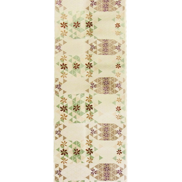 「鱗に小花」両面表西陣織半幅帯